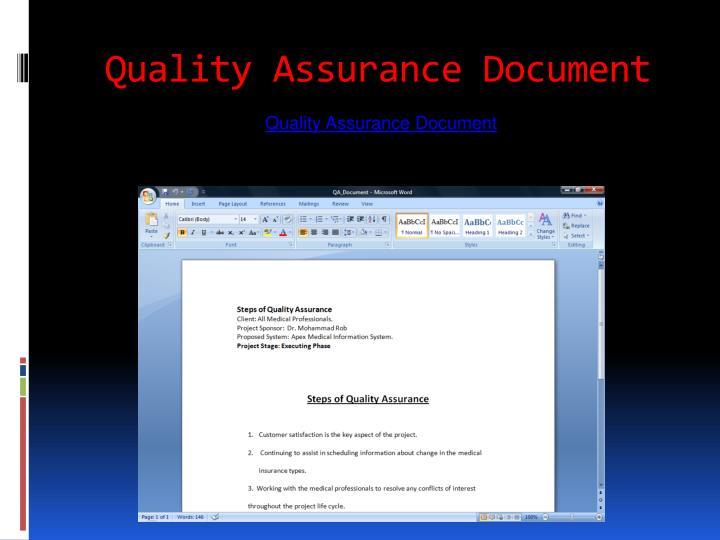 Quality Assurance Document