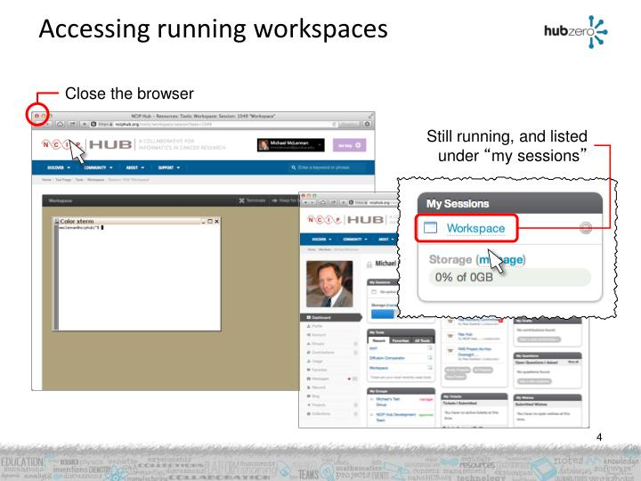 Accessing running workspaces