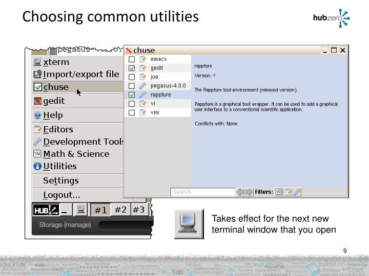 Choosing common utilities