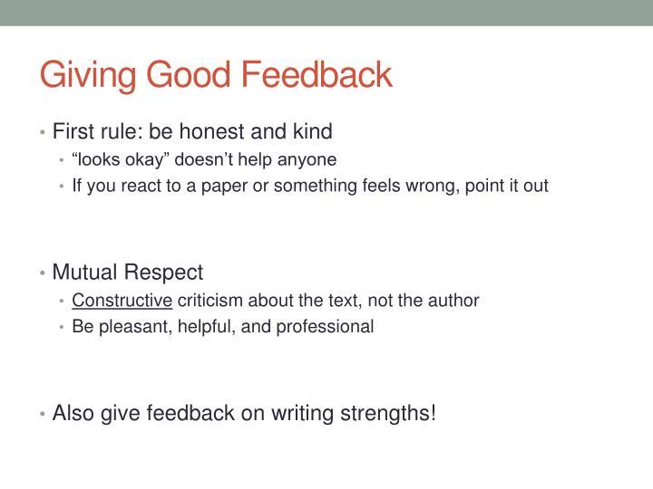 Giving Good Feedback