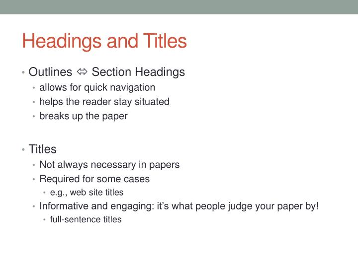 Headings and Titles