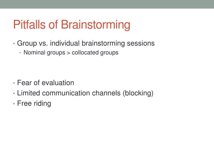 Pitfalls of Brainstorming