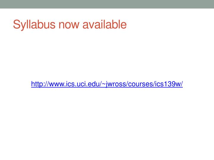 Syllabus now available