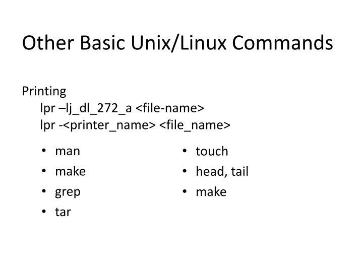 Other Basic Unix/Linux Commands