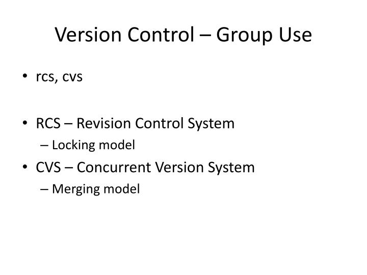 Version Control – Group Use