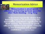memorization advice