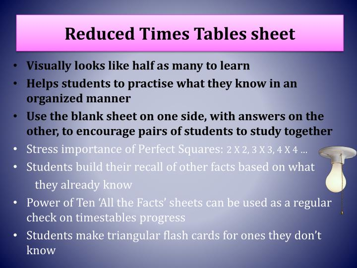 Reduced Times Tables sheet