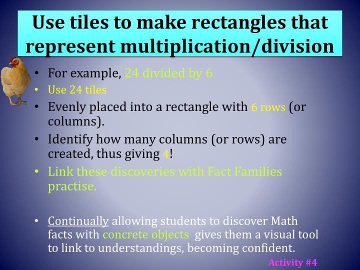 Use tiles to make rectangles that represent multiplication/division