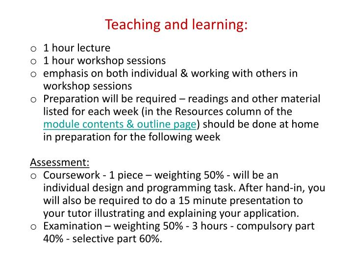 Teaching and learning: