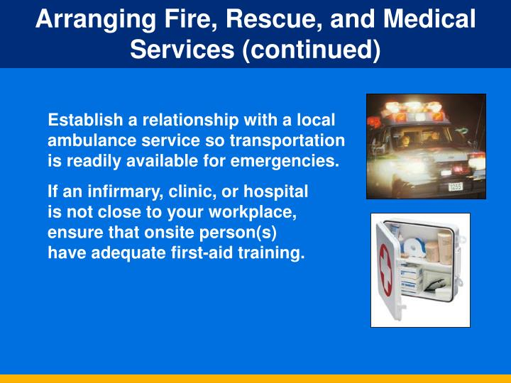 Arranging Fire, Rescue, and Medical Services (continued)