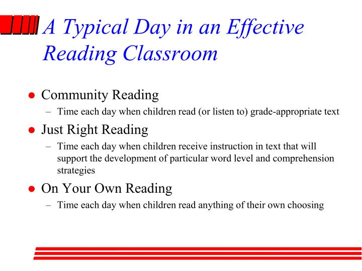 A Typical Day in an Effective Reading Classroom