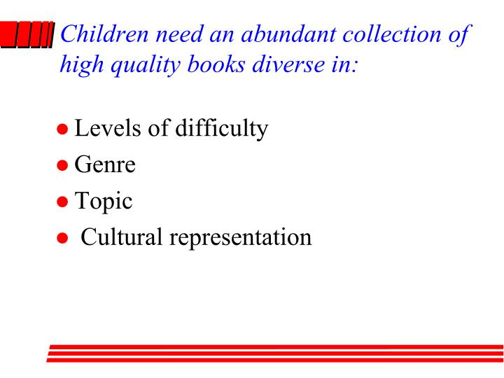 Children need an abundant collection of high quality books diverse in: