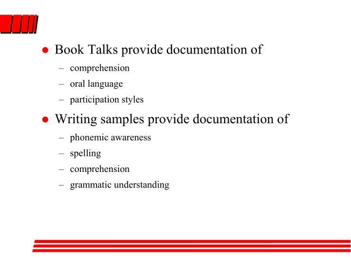 Book Talks provide documentation of