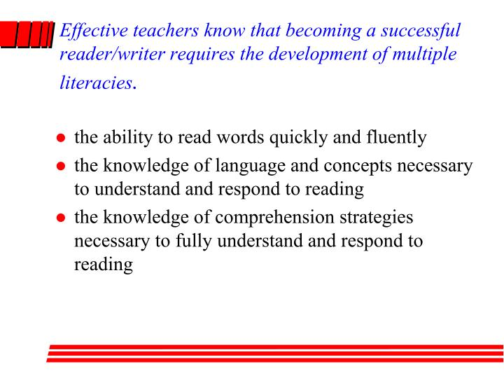 Effective teachers know that becoming a successful reader/writer requires the development of multiple literacies