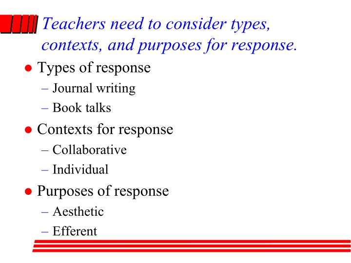 Teachers need to consider types, contexts, and purposes for response.