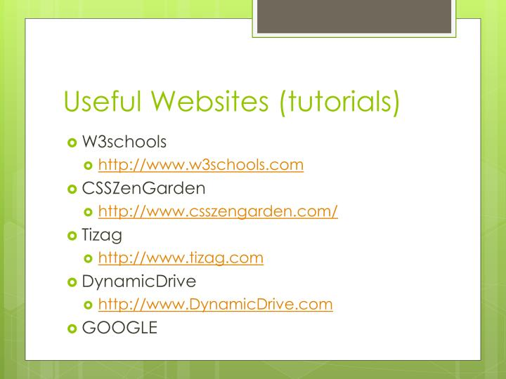 Useful Websites (tutorials)