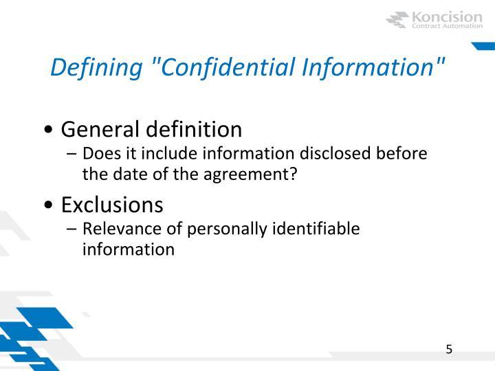"Defining ""Confidential Information"""
