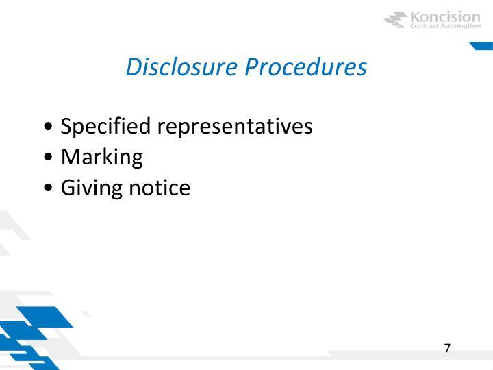 Disclosure Procedures