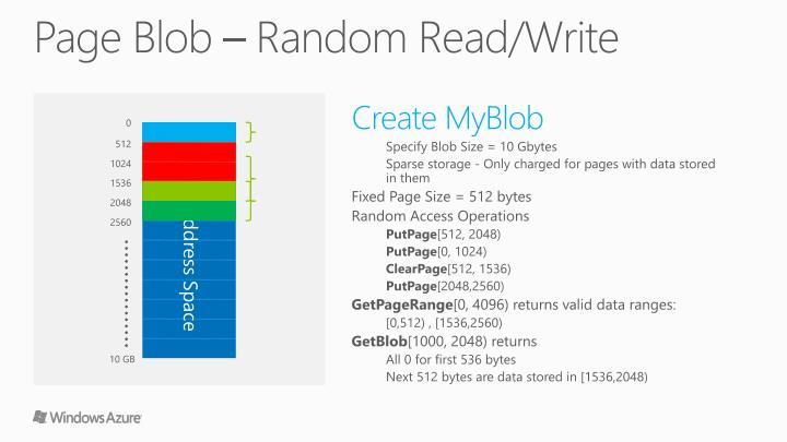 Page Blob – Random Read/Write