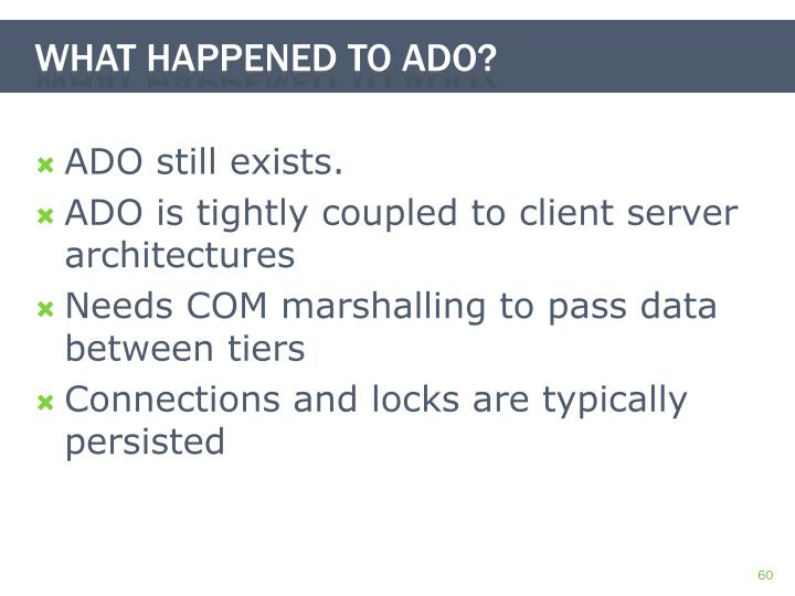 ADO still exists.