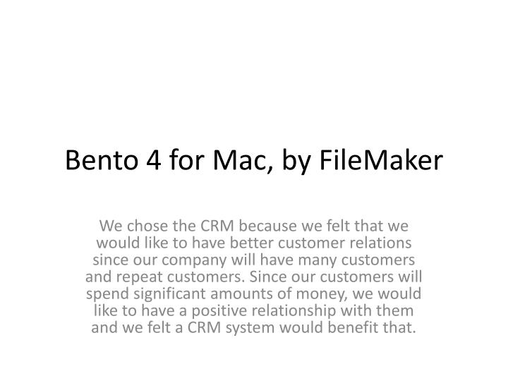 Bento 4 for Mac, by FileMaker