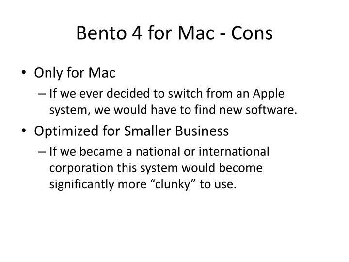 Bento 4 for Mac - Cons