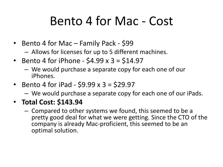 Bento 4 for Mac - Cost