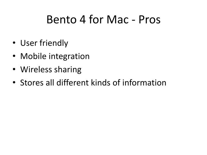 Bento 4 for Mac - Pros
