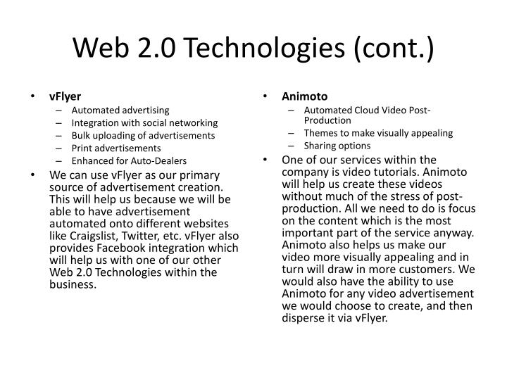Web 2.0 Technologies (cont.)