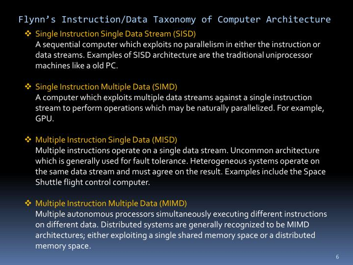 Flynn's Instruction/Data Taxonomy of Computer Architecture