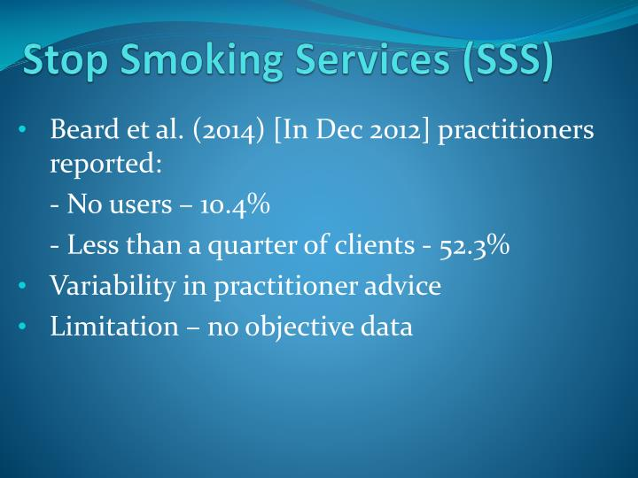 Stop Smoking Services (SSS)