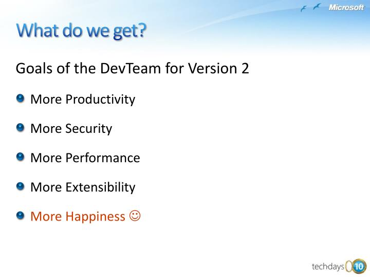 Goals of the DevTeam for Version 2
