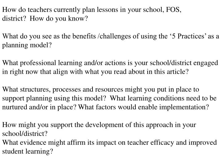 How do teachers currently plan lessons in your school, FOS, district? How do you know?