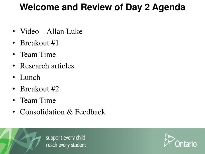 Welcome and Review of Day 2 Agenda