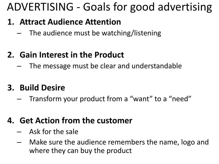 ADVERTISING - Goals for good