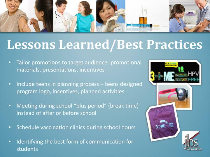 Lessons Learned/Best Practices
