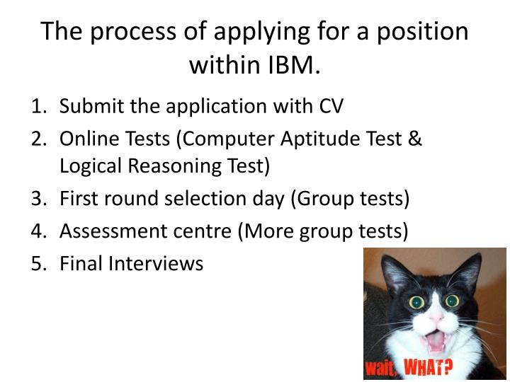 The process of applying for a position within IBM.