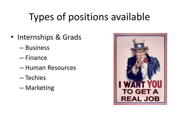 Types of positions available