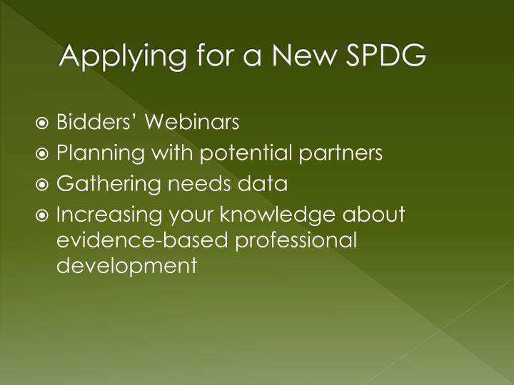 Applying for a New SPDG