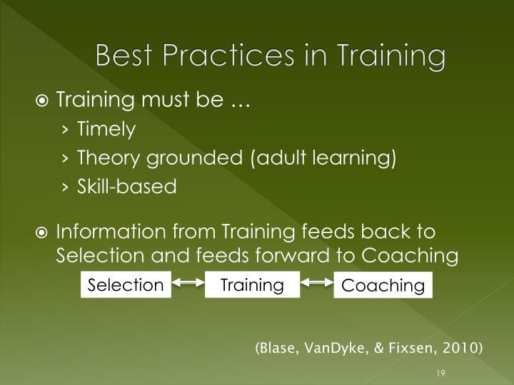 Best Practices in Training