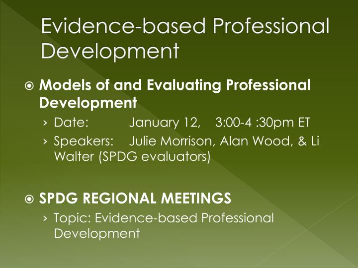 Evidence-based Professional Development