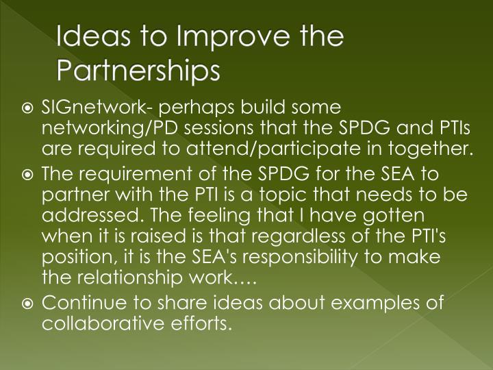 Ideas to Improve the Partnerships