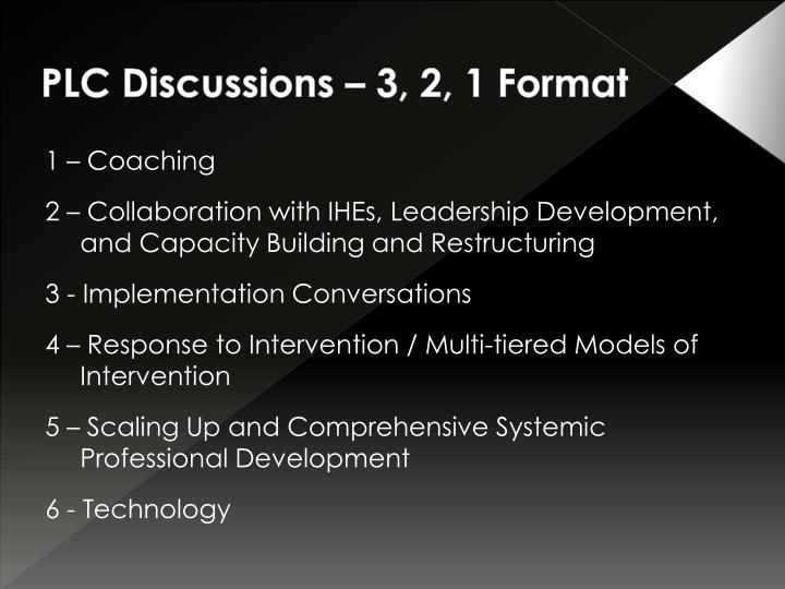 PLC Discussions – 3, 2, 1 Format