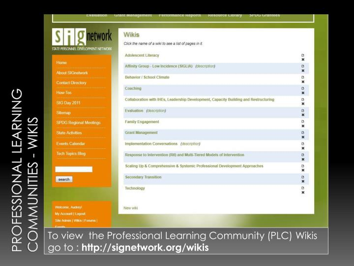 Professional Learning Communities - Wikis