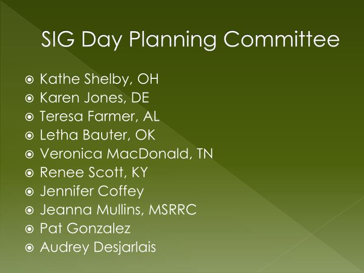 SIG Day Planning Committee
