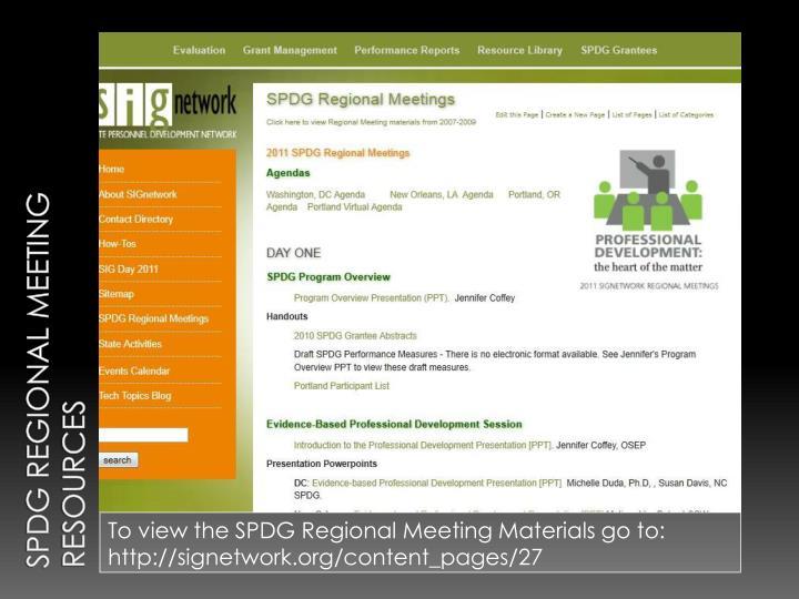 SPDG Regional Meeting RESOURCES