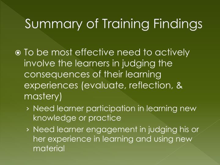 Summary of Training Findings