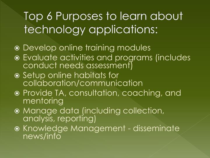 Top 6 Purposes to learn about technology applications: