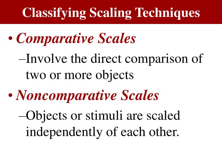 Classifying Scaling Techniques
