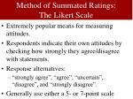 method of summated ratings the likert scale